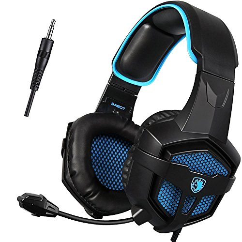 PS4 Cuffie Gaming, Sades SA807 PS4 Xbox One Cuffie Gamer Headset Gioco, stereo con microfono Controllo del Volume Per PC/Nuovo Xbox One/PS4/Smartphones (Over ear, Nero&Blu)