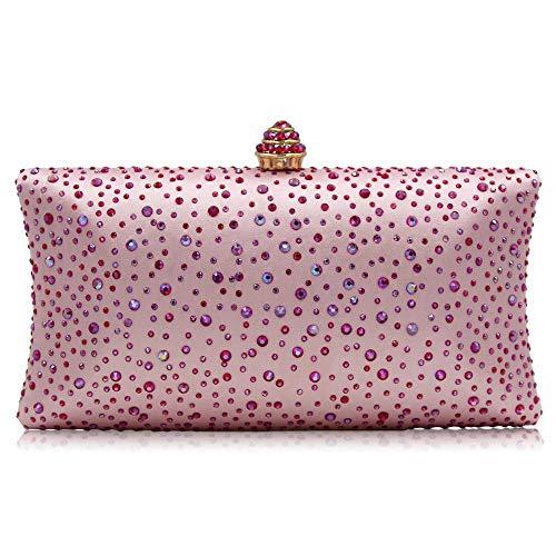 Unbekannt Damen Clutch mit Perlen, Strass-Kristall, Geldbörse, Glitzer, Abend-Handtasche für Hochzeit, Cocktail, Abschlussball, Party, Pink (rose), Small