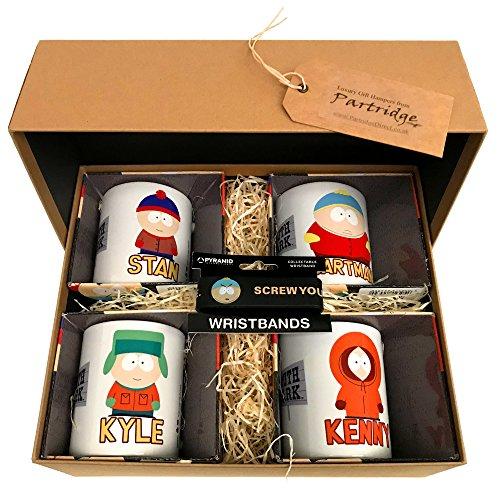 South Park–Zeichen–Geschenk-Set mit vier offiziellen South Park Tassen, und ein Southpark Armband
