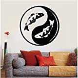 TJVXN Yin Yang calcomanía de Pared Koi Fish Zen Dormitorio Sala de meditación decoración Interior Ventana Pegatina Papel Tapiz artístico 57X57cm
