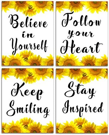 Sunflower Decor Inspirational Wall Art Motivational Poster Phrase Canvas Print Positive Quotes product image