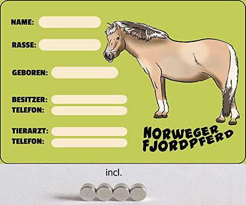 Metalen bord 20 x 30 cm gebogen, incl. 4 magneten boksborden boxen stal Noors fjord paard decoratie geschenk bord
