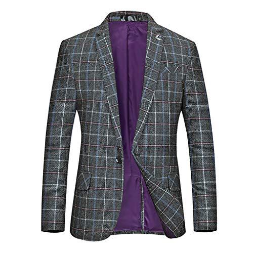 serliy😛Herren Slim Fit Einfarbig Anzug Business Einfacher Anzug Mantel Lässig Zweiknopf-Blazer Jacke Sportmantel Sakko Freizeit Blazer Casual Männer Business Anzug Jacke