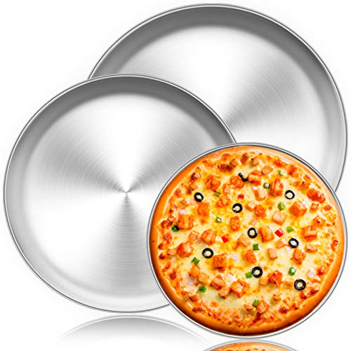 "TeamFar Pizza Pan, 10"" & 12"" & 13.4"", 3 Pcs Pizza Pan Set Stainless Steel Pizza Pan Round Pizza Oven Pans Tray for Baking Serving, Healthy & Rust Free, Heavy Duty & Dishwasher Safe"