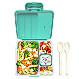 Voluex Bento Box Lunch Containers for Adults / Kids, 4 Compartment Bento Style Lunch Box, Leak Proof, Microwave/Freezer/Dishwasher Safe (Flatware Included,Blue)BPA Free and Food Safe,Large Bento Boxes