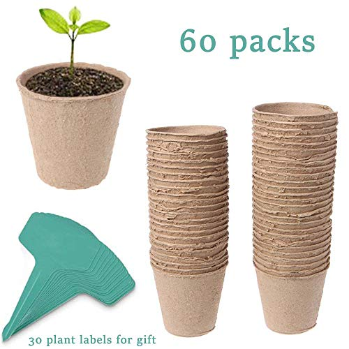 "JTEEY 60 Pack 3"" Peat Pots Plant Seed Starters Kit for seedlings & Herb,Transplant Seedlings Pots,Organic Biodegradable Eco-Friendly Pots for Seedlings, Flowers, Vegetables with 30 Pcs Plant Labels"