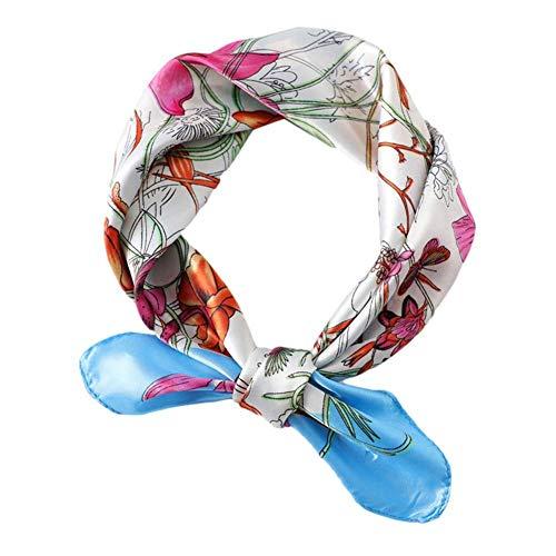 XCSM Bufanda Cuadrada de Seda, Bufandas de satén, diseño Floral para Mujer, Cuello para Mujer, pañuelo para la Cabeza, pañuelos pequeños de Verano, Accesorios 60x60cm