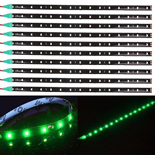 TABEN Lot de 10 bandes lumineuses LED flexibles étanches 12 V pour voiture et moto 30 cm Vert 1210-15SMD