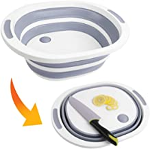 DLD Collapsible Cutting Board Dish Tub, Foldable Drain Basket Colander with Plug, Multifunctional Chopping Board for Washi...