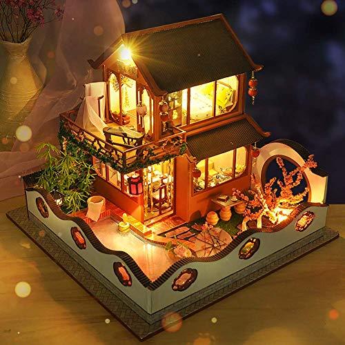 FEEE-ZC Linda y romántica casa de muñecas en Miniatura Kit de casa de Bricolaje Escala 1:24 Juguetes creativos de casa de muñecas para Adolescentes Regalo para Adultos