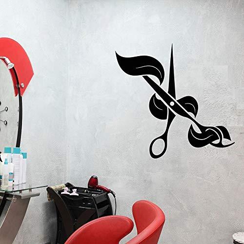 yaonuli Schaar muursticker kapperszaak haar salon creatieve logo decoratie vinyl sticker muurschildering verwijderbaar