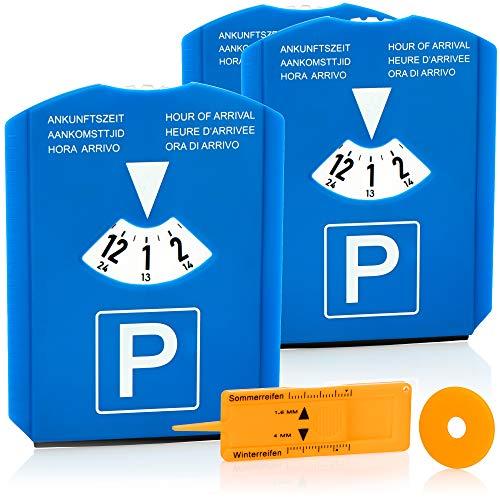 com-four® 3X Parkscheibe mit Eiskratzer, Gummilippe, Einkaufswagenchip und Reifenprofilmesser - Parkuhr aus Kunststoff (03 Stück - Parkscheibe mit Chip+Profilmesser)