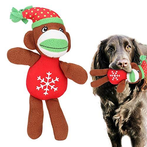 HERCHR Juguete masticable para Perros, Juguetes para Mascotas chillones de Peluche de Mono navideño para Cachorros, Perros pequeños y medianos, 11,4 x 6,3 x 2,4 Pulgadas(Mono de Navidad)