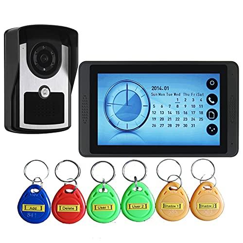 Videoportero, Intercomunicador, Sistema De Seguridad Para El Hogar, Videoportero Con Cable, Monitor De Pantalla Táctil De 7 Pulgadas + Cámara De Visión Nocturna Por Infrarrojos + 6 Tarjetas
