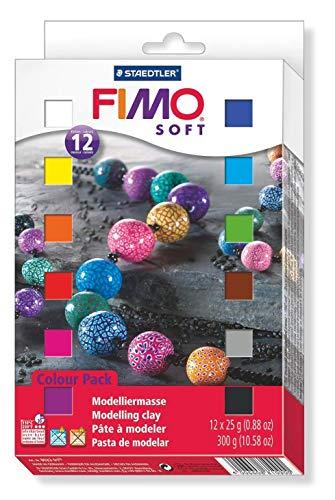 FIMO soft ofenhärtende Modelliermasse. Kartonetui mit 12 sortierten Basic-Farben, 12 Halbblöcke à 25 g