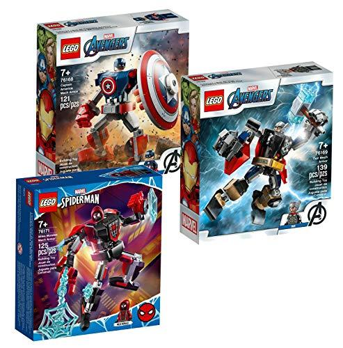Lego 3er-Set: 76168 Captain America Mech Armour + 76169 Thor Mech Armour + 76171 Miles Morales Mech Armour