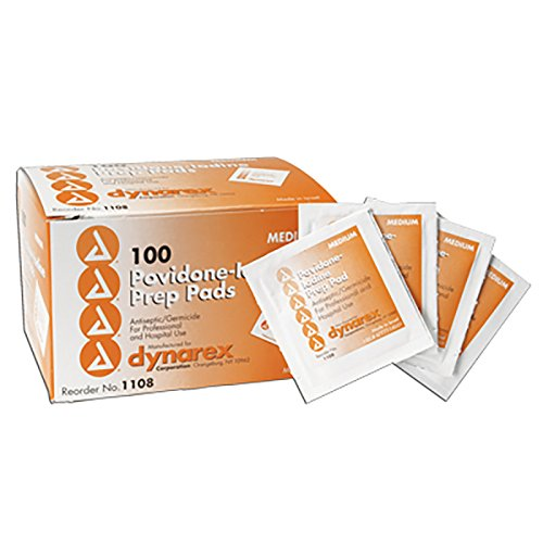 Povidone-Iodine, Prep Pads, Box of 100