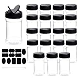 Spice Bottles, Dabacc 20Pcs 7oz Clear Plastic Container Jars with Lids Labels for Kitchen Storing Spice Powders Dry Goods Peanut Butter BPA free