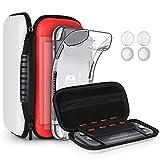 8pcs GeeRic Custodia Compatibile per Switch Lite, 2pcs Vetro Temperato + Cover + 4 Thumb Grips + Borsa +Accessori 8 in 1 Kit Compatibile con Switch Lite Rosso&Bianco