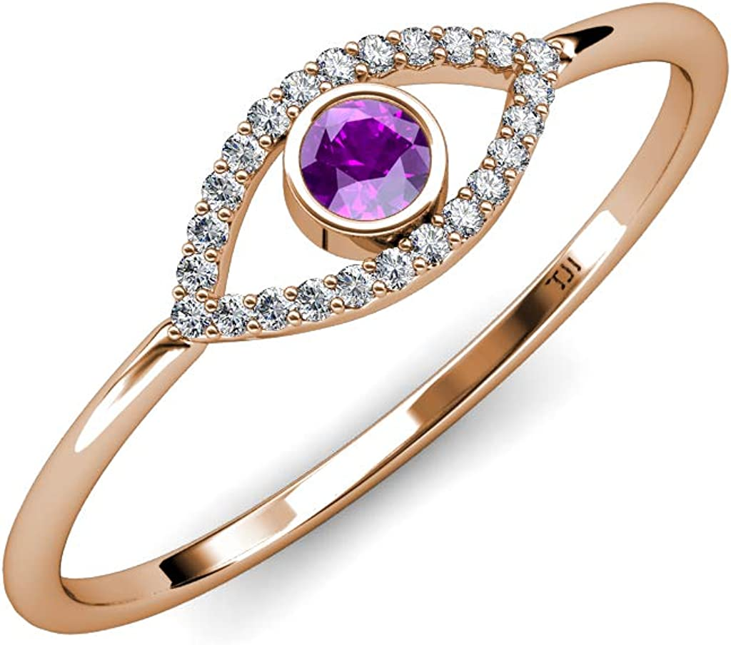 TriJewels Round Amethyst and Diamond Rin Eye Fashion Womens Max 83% OFF Evil Promise