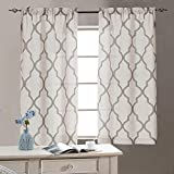 jinchan Linen Kitchen CurtainsTiers 45 Length Moroccan Print Geometry Privacy Half Window Curtains for Bathroom 1 Pair 26' W x 45' L Grey