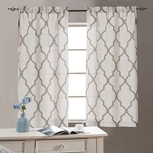 jinchan Linen Kitchen Curtains 36 Length Moroccan Design Cafe Curtains for Window Treatment Set 2 Panels 26' W x 36' L Grey