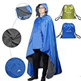 FANCYWING Outdoor Stadium Blanket Waterproof Fleece Blanket Rainproof, Windproof Picnic Camping Backpacking Blanket Hooded Mat Rain Poncho Blanket Pet Blanket