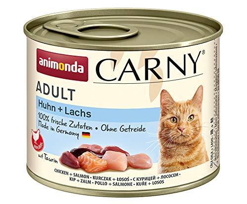 animonda Carny Adult Katzenfutter, Nassfutter für ausgewachsene Katzen, Huhn + Lachs, 6 x 200 g