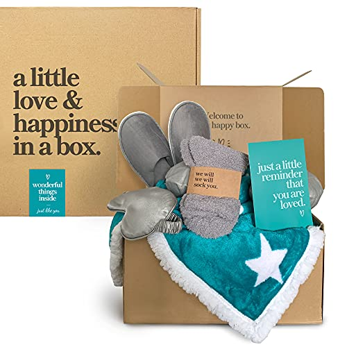 6-Piece Care Package Box, Sympathy Gift Basket, Wearable Hoodie Blanket, Slippers, Eye Mask, Neck Pillow, Greeting Card, Fuzzy Socks, Get Well Gifts for Cancer or Sick Patients for Women & Men, Teal