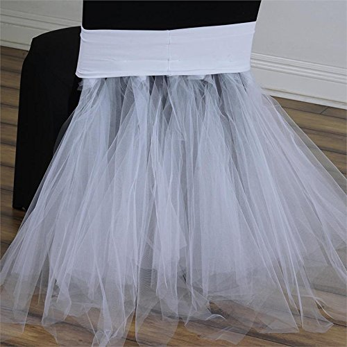 BalsaCircle White Stretchable Spandex with Tulle Tutu Chair Sash Slipcovers for Wedding Bridal Shower Party Reception Decoration