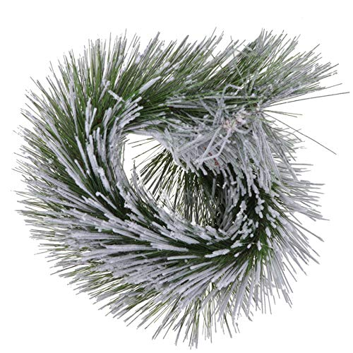 DOITOOL Snowy Pine Garland Cedar Garland Artificial Christmas Garland and Wreath Fireplace Garland Hanging Wall Ornaments for Stairs Mantle Wall Door Decoration (Green)