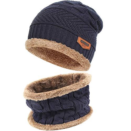 Mens Womens Winter Beanie Hat Scarf Set Warm Knit...