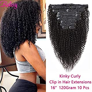 Rolisy Kinkys Curly Clip ins Human Hair Extensions ,Real Thick Soft 8A Grade Human Hair for Women,Afro 3C 4A Kinkys Curly Hair Clip ins,Natural Black Color,10 Pcs,120 Gram,16 Inch