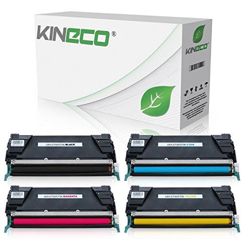 4 Toner kompatibel zu Lexmark Optra C732, C734DN, C736DN, CS735dn, X734dw, X736de, X738de - Schwarz 8.000 Seiten, Color je 6.000 Seiten