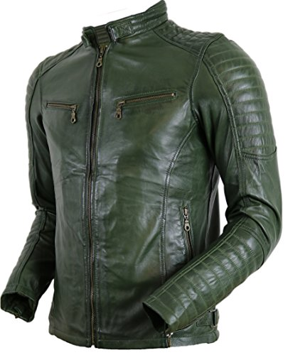 MDM Herren Biker Lederjacke in Khaki Grün aus echtem Leder (4XL)