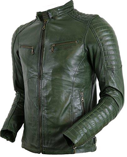 MDM Herren Biker Lederjacke in Khaki Grün aus echtem Leder (XL)