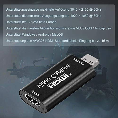 Video Capture Card HD 1080P, HDMI zu USB 2.0 Videoaufnahmekarte Game Capture Card USB 4K Display Port auf HDMI AdapterAufnahme über DSLR, Camcorder, Action Cam, unterstützt Broadcast Live Streaming