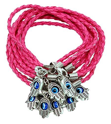 Lot 10 MAIN HAMSA contre MAUVAIS ŒIL Bracelet cordon ROSE Pendentif CHANCEUX