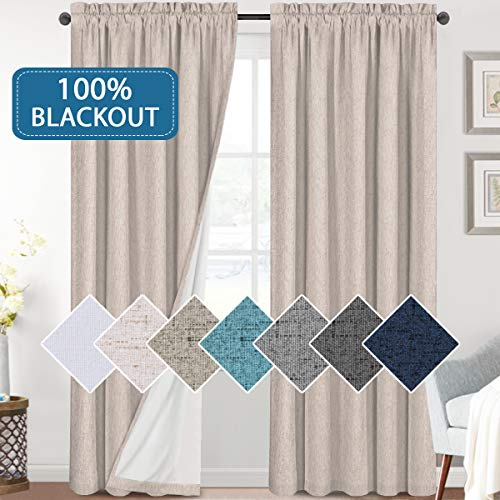 Bedroom 100% Blackout Curtains Textured Linen Look Room Darkening Drapes for Living Room, Thermal Insulated Rod Pocket Curtains Burlap Fabric with White Liner(Natural, 2 Panels, 52x84-Inch)
