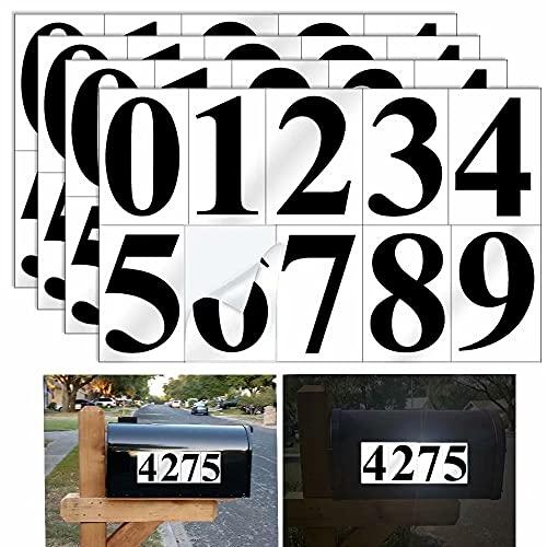Diggoo 4 Sets Reflective Black Mailbox Numbers Sticker Decal Die Cut Elegant Style Vinyl Number 4