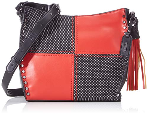 Remonte Damen Handtasche Q0602, Mehrfarbig (Schwarz/Silber/Rosso), 9x26x30 cm