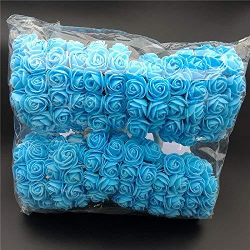 ASOSMOS 144 Teile/Packung Mini Schaum Künstlich Rose Blume Bukett Hochzeit Dekor Handwerk Vorräte - Blau