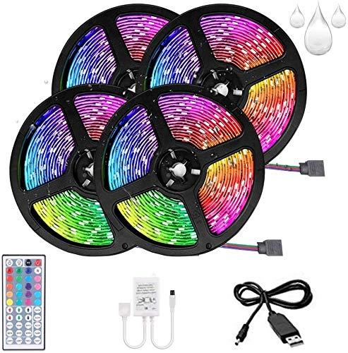 Tira de LED Decoracion de Luces RGB Multicolor Control Remoto de 44 con Cable USB para Decoración de Casa/Habitacion/Jardín/Fiesta (No Impermeable, 20M)