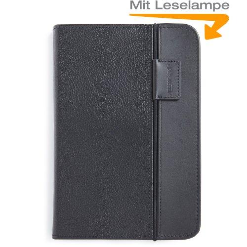 Amazon Lederhülle für Kindle Keyboard mit integrierter Leselampe (3. Generation - 2010 Modell), Schwarz