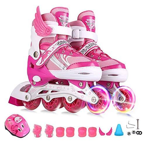 Ice-Beauty-ukzy Inline Skates Kinder Einstellbare Rollschuhe Set Jungen Mädchen Leucht PU Räder -für Anfänger Gute Geschenk Für Kinder -Blau/pinkpink-S(26/33)
