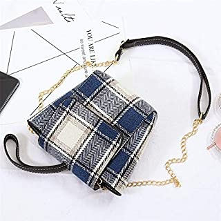 Fashion Single-Shoulder Bags Plaid Texture Leisure Fashion PU Leather Chain Slant Shoulder Bag Handbag (Black) (Color : Blue)