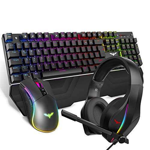 havit Mechanische Gaming Tastatur Maus Headset Set, RGB QWERTZ Handballenauflage Tastatur (DE-Layout), 4800 Dots Per Inch Gaming Maus und RGB Gaming Headset (KB380L)