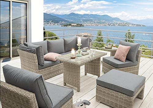 Destiny Lounge Loungegruppe Aruba Sitzgruppe Sofaset Faltdach Polyrattan - 3