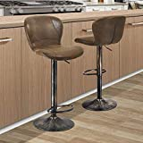 kealive Bar Stools Set of 2 Height Adjustable Barstools Swivel Counter Chairs with Backrest PU Leather and Unique Metal Frame Barstool Chairs for Kitchen Bistro Pub, Retro Brown