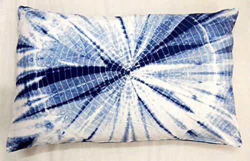 Handicraft Bazar Indian 18 x 28 Juego de 2 Fundas de cojín rectangulares de algodón teñido con Nudo Indio, Almohada India Shibori, cojín para Exteriores